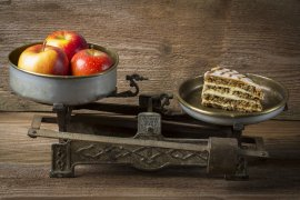 What Mel Did - apples and cake on scales
