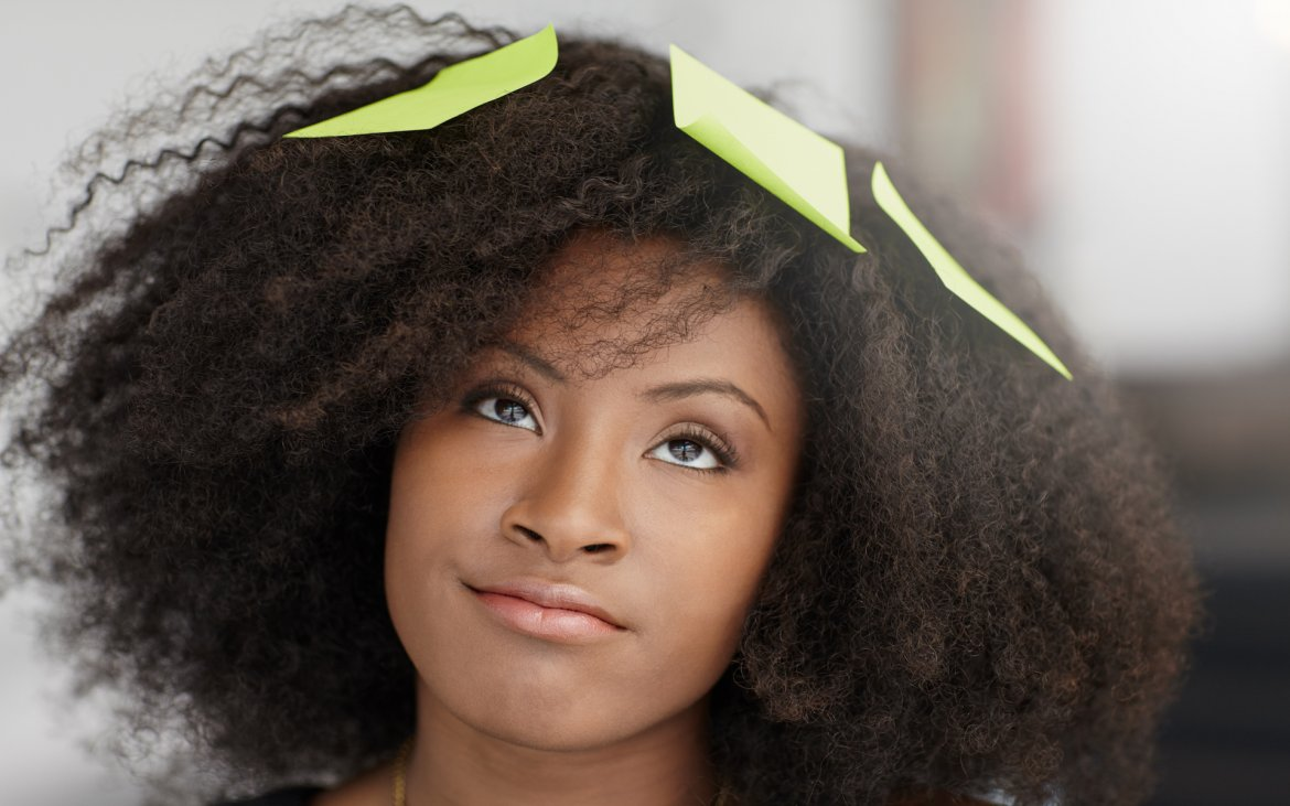What Mel Did - Black woman with post-its in her hair