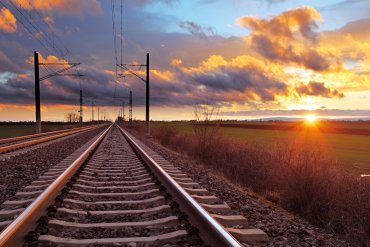 What Mel Did - train line and sunset