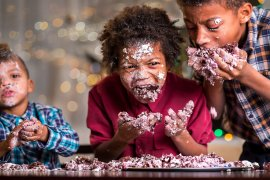 What Mel Did - three black naughty boys eating cake