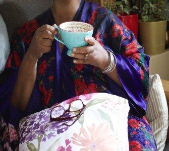 Melinda with teal cup coffee, IMG_6781